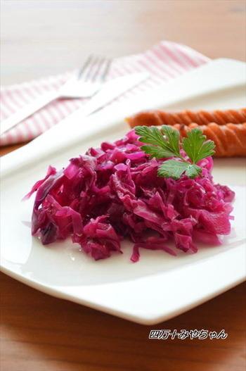 レッド(紫)キャベツを使ったザワークラウトは、美しくて前菜などにも映えますね。メインに添えるだけでも、華やかなひと皿になります。