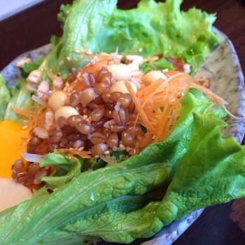 新鮮な近江野菜を使ったサラダと、ごはんは食べ放題。野菜をたっぷり摂りたい人にはおすすめのお店です。