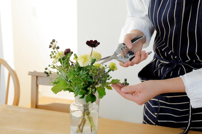 園芸バサミのストレートタイプは刃が長いので、細かい枝や葉のカットに適しており、庭だけでなく、お家のお花にも良さそう。