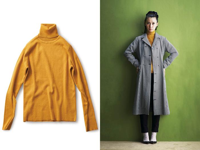 コットンの糸で編み上げたタートルセーターはやさしい肌ざわりが嬉しいアイテム。インナーに着れば、寒い時季でもお気に入りのワンピースを着続けられます。レトロな雰囲気の山吹色は差し色としてコーディネートのアクセントになりそう。プチプラなので色違いで揃えておくと便利です。