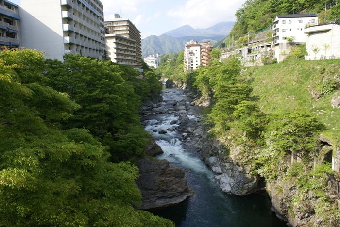新宿から鬼怒川までは約2時間。鬼怒川温泉は、江戸時代に発見されたといわれ、当時は日光の寺社領だったため、日光詣で諸大名や僧侶達だけが入ることができたという由緒正しい温泉です。鬼怒川渓谷をはさみ、たくさんの温泉旅館が建ち並んでいます。