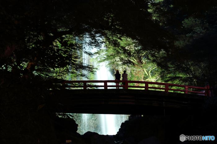 箕面市の明治の森箕面国定公園内にある好アクセスの箕面の滝 (みのおのたき) は、「日本の滝100選」にも選ばれた迫力ある美しい滝です。落差は約33mもあり、毎年200万人もの観光客が訪れている人気スポットでもあります。