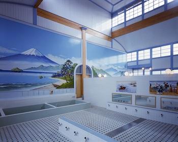 風呂場の壁面には、ペンキで描かれた富士山が。こういった銭湯の壁面を彩る絵を描く職人さんがどんどん減ってしまい、現在では数名なのだとか。時代の流れとはいえ、何ともさみしい限りです。