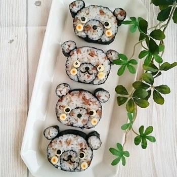大きいのり巻と小さいのり巻きで作ったクマのパーツを合わせて、チーズと海苔で顔を作っていけばキュートなクマさん寿司に。