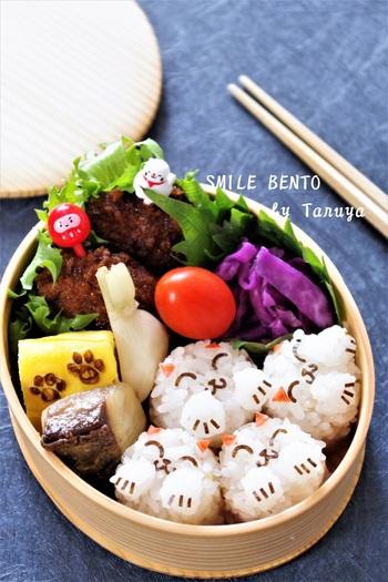 蓋を開けた瞬間にたくさんの笑顔が♪食べる方も思わず笑顔になりそうなHappy感満載のお弁当です。