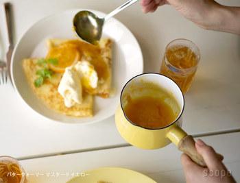 ソースやシロップなど、作り立てを温かいままテーブルにサーブしても可愛らしいのはソースパンならではの特権。コロンとしたシルエットが食卓の名わき役になってくれます。