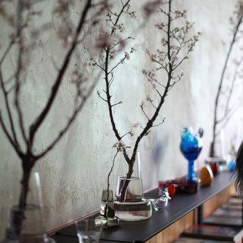 枝ものととくに相性がいいホルムガードのフローラは多くのお洒落ブロガーさんたちが使っている花器です。ただすっと挿すだけで、とにかくカッコよく決まります。枝もの初心者さんならひとつは持っていたい花器です。