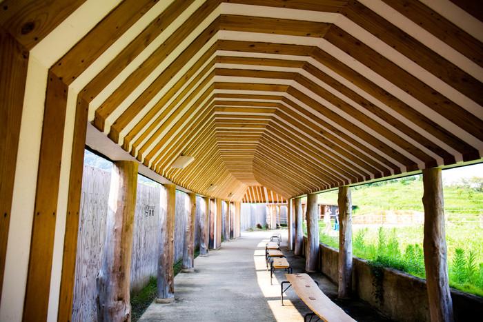 建築家の藤森照信さんによるユニークな設計。メインショップや農園、本社に続く回廊など、お菓子の素材は自然の恵みだと感じられる施設です。