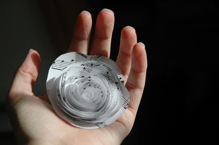 楽譜を使うのも素敵です。アンティーク風の紙であれば、雰囲気も出ますね。
