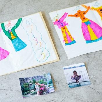 「将来の夢は洋服屋さん!」と言っていた頃の絵と写真を持ってきていただきました。