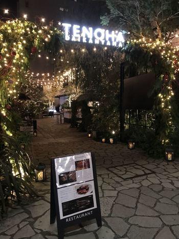 スタイリッシュで洗練された空間でディナーが楽しめるダイニングカフェ「テノハ スタイル レストラン」。代官山駅から徒歩約3分のところに位置し、グリーンで彩られた素敵な空間にあります。