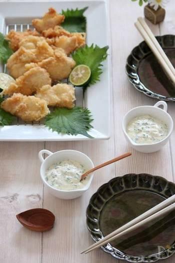 甘酢生姜で作るタルタルソースは、和風テイストで新鮮!フライにはもちろんですが、天ぷらにも◎