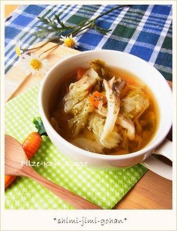 舞茸や野菜のおいしさがたっぷり凝縮された、優しい味わいのスープ。栄養があり、朝食にもぜひおすすめです。一日のスタートが元気に切れそうですね。