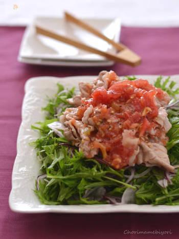 豚しゃぶと言えば、ごまだれが定番ですが、トマトだれにすることでさっぱりとした味わいにアップデート!にんにくや酢などが効いているので、暑さで疲れた体も元気に♪色合いも鮮やかですね。