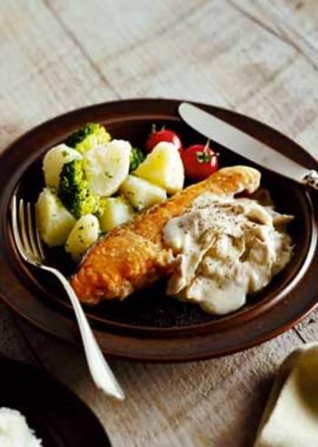 洋食が好みならこちら、濃厚なホワイトソースがポイントのムニエルレシピです。たっぷりとまいたけを使ったソースに、満足度◎!メインディッシュにふさわしいごちそう感が嬉しいですね。