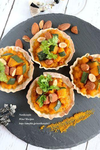 餃子の皮を使った簡単タルト。あま~いかぼちゃとスパイシーなカレー粉は相性バツグンです!