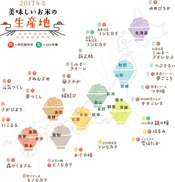 こちらでは、「一杯の炊き立ての白いごはんからつながり広がるしあわせ」をコンセプトに日本各地のお米を厳選、一部店舗では1kg単位で量り売り・精米もおこなっています。(画像は、2017年度版)