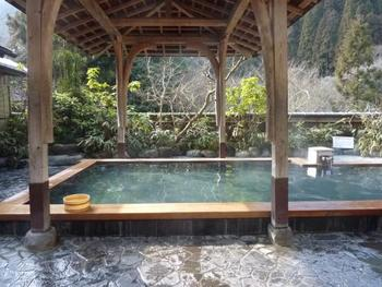 天然の硫黄温泉で、美肌や腰痛、リューマチなどに効果があるとされています。山の中にあるので、森林浴も同時に楽しめます。