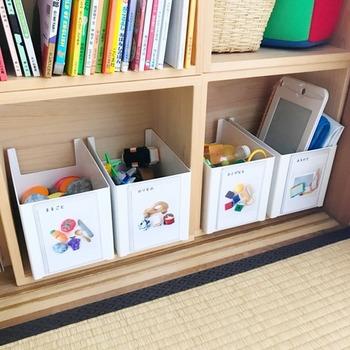 こちらのお部屋ではラベルにも一工夫があります。おもちゃの写真付きで、お子さんに分かりやすいように分類してあるんです。