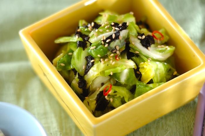 ゴマ油と韓国のりの塩気で、韓国風の味付けに仕上げたキャベツの浅漬け。ゴマ油の香りがなんとも香ばしく、いくらでも食べれちゃう美味しさです。作ってすぐを食べてるとサラダ感覚で頂け、1時間程度漬け込むと、味がしっかりと馴染み、味わい深い美味しい浅漬けに。