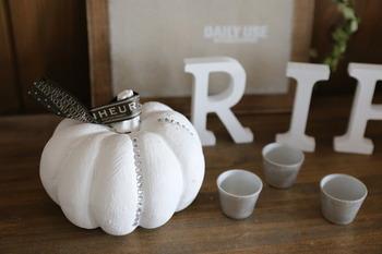 真っ白なかぼちゃは、シックなインテリアにもぴったりの大人の雰囲気です。オレンジや黄色だとポップすぎるときは、モノトーンで抑えめのかぼちゃをチョイスしてみるとお洒落に見えますね。