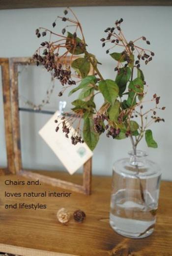 靴箱の棚上などに、枝物やドライフラワーを飾って旬感を添えるのもおすすめです。忙しい日々の中、一瞬植物を見るだけでも季節を感じる事ができるのが素敵ですよね。
