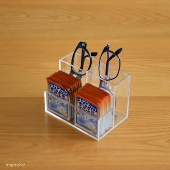 例えばこのように、メガネとクリーナーを一緒に収納することも。必要なものが一度に取り出せて、とても便利です!