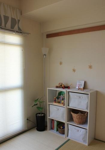 お子さんがまだ小さくて子供部屋がいらない場合でも、ちょっとしたスペースにキッズコーナーを作ってあげるとお子さんも喜びそう。