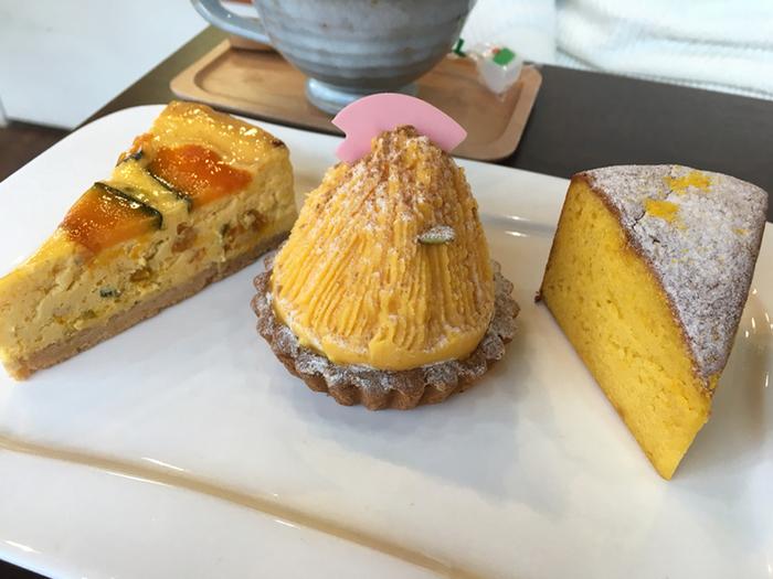 かぼちゃのチーズケーキ、モンブラン、ガトーショコラ…かぼちゃ好きには、たまらないメニューが楽しめます。