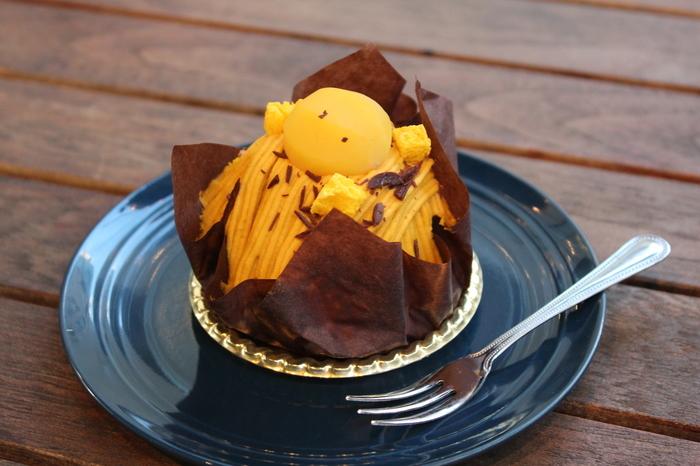 乳製品を使わないヴィーガンのスイーツが充実しています。こちらは一番人気の「栗とかぼちゃのモンブラン」。かぼちゃと豆乳クリームを合わせたクリームが濃厚なのに甘さ控えめで◎