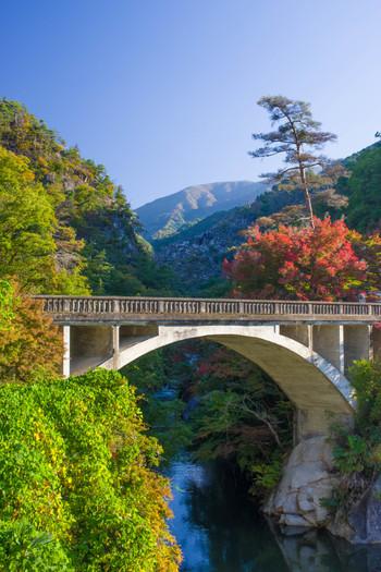 昇仙峡の入り口付近にあり、大正14年に完成した山梨県内で最も古いコンクリートアーチ道路橋です。白い橋が自然の中で際立って映えますね。