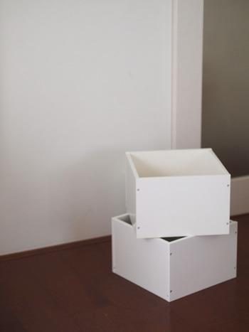木箱も余ってしまいがちな収納アイテムの1つですよね。 何を作るにもベースとなりやすい型なので、アレンジしやすいでしょう。