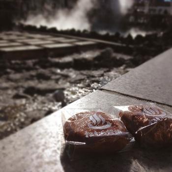 湯畑を眺めながら、蒸したてをいただくのも最高ですね!