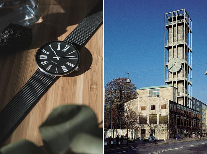 もともとテーブルクロックとして生まれたデザインを、1942年にデンマーク第二の都市であるオーフスの市庁舎を設計した際にリデザインし、建物のシンボル的な存在になっている「ROMAN」。ローマ数字のインデックスと、ゆるやかな曲線を描いた槍型の時分針が、クラシカルかつエレガントな雰囲気を醸しだしています。シンプルながら、上品な手元を演出してくれそう。 文字盤がブラックのものと、ホワイトはケースのカラーがシルバー、イエローゴールド、ローズゴールドの3色で計4色。