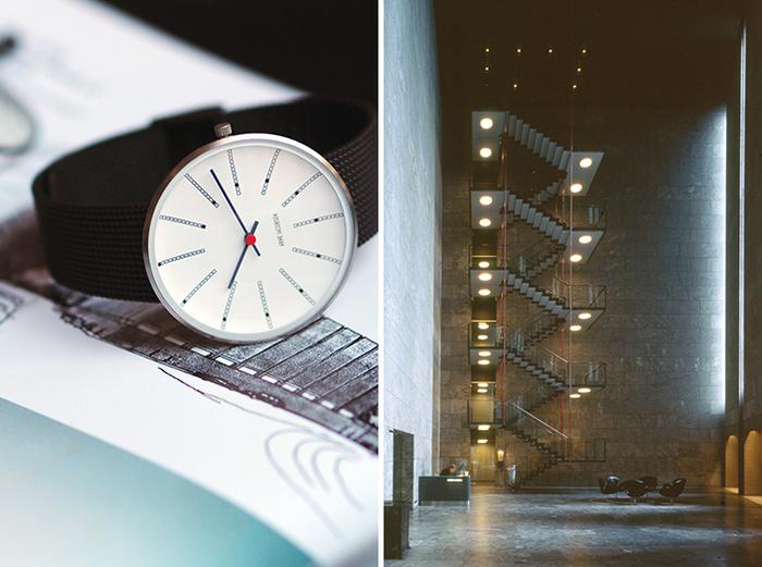 """インデックスがグラフィカルなデザインの「BANKERS」は、ヤコブセンが晩年(1971年)に手がけ、""""最高傑作""""と評価されるデンマーク国立銀行を設計した際に誕生したもの。わずか2つしかないオリジナルクロックを基に再現された、関係者のこだわりが詰まったウォッチです。12個のブロックで構成されたインデックスは非常にユニークで、絶え間ない時の流れを表すように優雅なスパイラルを描いています。時分針を留める赤いパーツもアクセントになっており、さりげなく個性をアピールできる逸品。 ホワイトの文字盤はケースがシルバーとイエローゴールドの2色、文字盤がブラックのものが1色の計3色ラインナップされています。"""