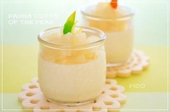 こちらも梨のコンポートを使ったレシピです。コンポートの甘さがあるので、砂糖は控えめでもOK!冷やし固めるので失敗しにくく、簡単に作れておすすめです。