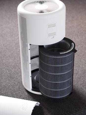 こちらのタイプは空気清浄のみのタイプ。中のフィルターを掃除機できれいに吸い取るだけでお手入れが完了します。一年に一度、フィルターごと交換になるので、いつフィルターを交換したか手帳に書いておくといいですね。