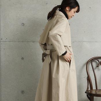 |コットン/ルアチン馬布 ロングステンカラーコート  yuniの定番ロングステンカラーコートは、一見シンプルですが、デザインや着心地にこだわった大人の女性にこそ着てほしい一枚。