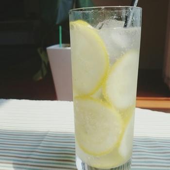 """スライスしたレモンをはちみつに浸けこんだ""""はちみつレモン""""を入れて、炭酸水で割れば完成♪ はちみつレモンを作っておけば、いつでも簡単に作れます。疲れたときは、お酢ドリンクでアレンジしても◎"""