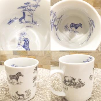 水彩画のようにな繊細さを持つ動物たちが絵付けされたマグカップ。内側と外側、それぞれのカラーを変えることで、雰囲気もがらりとチェンジ。遊び心いっぱいのデザインです。