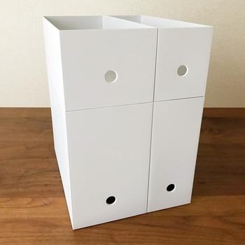 無印良品のPPファイルボックスは、すっきりとシンプルなデザイン。サイズ展開が豊富なので、用途に合わせて使い分けが可能です。色は2種から選べて、どんな空間にも馴染みやすいホワイトグレーは、特におすすめ。今回は、書類整理だけじゃなく、キッチンや玄関などでも便利に使える幅広い活用アイデアをご紹介します。