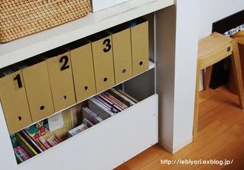 子供の教科書やノートなどの学用品をリビングに置いているお家は、同じようにファイルボックス収納にしてみましょう。兄弟が多い場合は、それぞれの子供でボックスを分ければ、混じり合うこともありません。