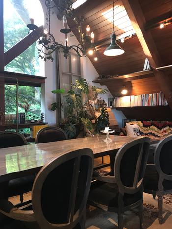 ブックカフェとアンティークショップ、そしてハウススタジオを兼ねた店内は、高原の中にいるような落ち着いた雰囲気。実は、ここにある家具は、ほぼすべて商品なんです。座り心地や手触りなどを楽しんで、お気に入りを購入するお客さんも多いんだとか。