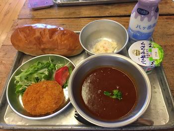 同じく、昭和校舎の「おいしい学校の給食」では、昔懐かしい給食がいただけます。こちらで使われている食器は、昭和40年代に実際に学校で使用されていたもので、所々にある凹みが味わい深いですね。メニューは地元の食材にこだわり、栄養バランスを考えて作られています。こちらは、シチューをメインに、自家製コッペパンと揚げ物、サラダ、瓶牛乳とデザートのセットです。