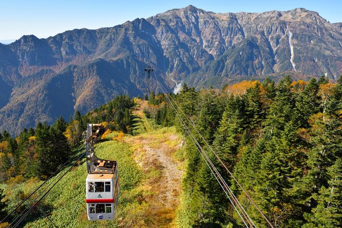 荒々しい日本アルプスの山々と、木々の紅葉を愛でながら山頂に登って行きます。