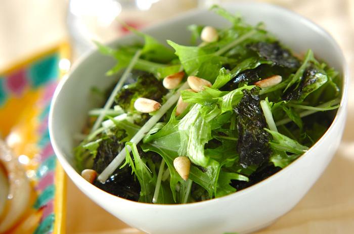 チョレギサラダを作ろうと思っても、レタス類が高くて使い辛い時期もありますよね。でも、実際、チョレギサラダの具材に、絶対コレ!という決まりはないのです。生で使いやすい旬の野菜を上手に活用しちゃいましょう。冬から春にかけてが旬の水菜はシャキシャキとした食感が魅力。手でちぎってさっと和えやすいので、チョレギサラダの具材にぴったりです。