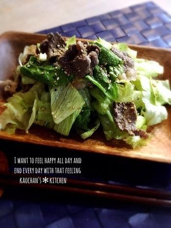 相性抜群の焼き肉とチョレギサラダ。1つのお皿の中で合体して、美味しくないわけがありません。これなら、野菜嫌いの子どもも喜んで食べてくれそうです。