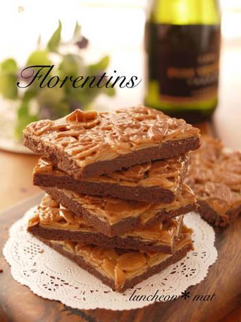 こちらのレシピは、サブレ生地の部分にココアやチョコレートを混ぜ込んだバレンタインにぴったりのフロランタン。断面もフォトジェニックでオシャレさもアップ!!