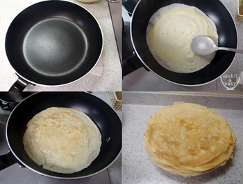 フライパンで焼く場合は、軽くバターかサラダ油をひいて、中火にしてから、生地を流しいれます。  生地のまわりが焼けてきたら弱火にして、まわりから少しずつ生地を剥がしていきましょう。生地をひっくり返す時は必ずしっかり火が通っている状態で。ひっくり返す際は、菜箸などに生地を引っ掛けると、きれいに返せますよ。