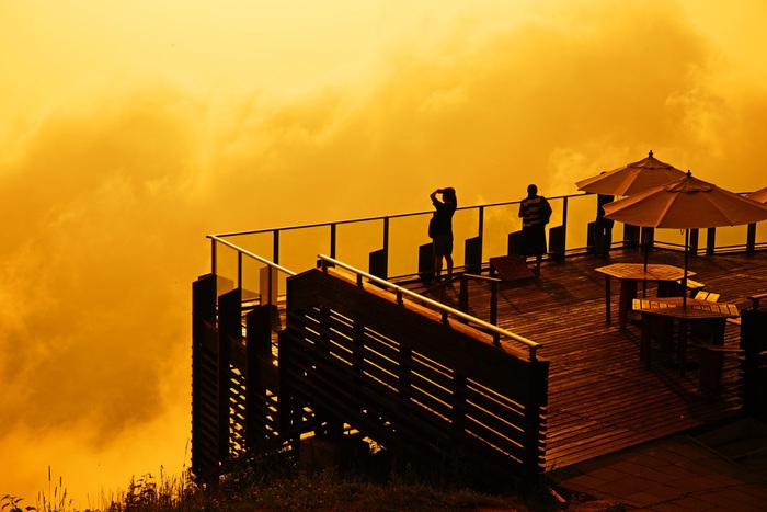 サンセット×夕焼け×雲海という奇跡の組み合わせにも出会えるかもしれません。あたり一面をイエローのようなオレンジのような鮮やかな色に包まれて、まるでおとぎ話の世界に迷い込んだような景色です。
